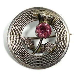 Sterling and Amethyst Rose Antique Brooch